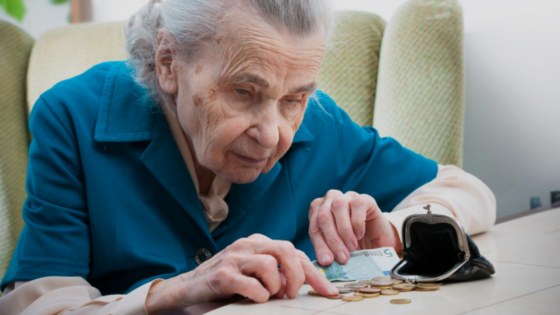Older woman watching pennies